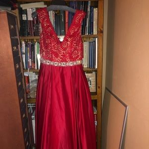 Red/Nude Prom Dress